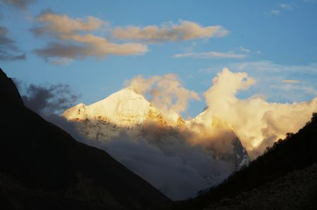 Bhagirathi Parbat peak in Himalayan on sunset photo