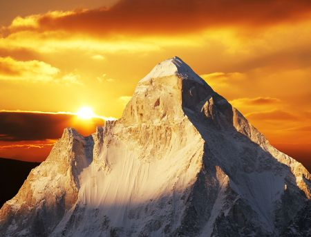 shivling: Shivling peak on sunset Stock Photo