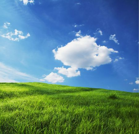 Green grassland and sky for background Stock Photo