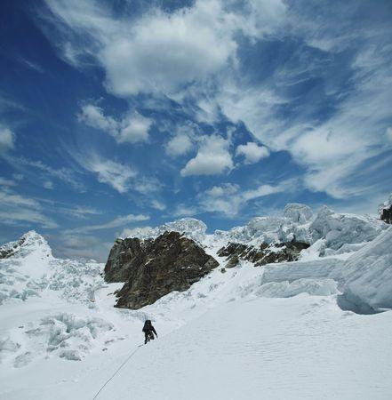 alpamayo: Climber the climb on Alpamayo peak Stock Photo