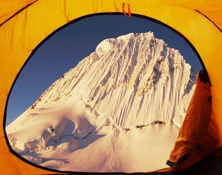 Base camp Alpamayo and Alpamayo peak photo