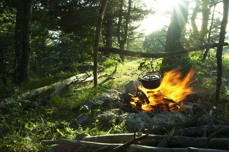 Campfire in the forest Stock Photo - 1179523