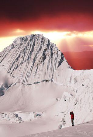 alpamayo: Climber looking on Alpamayo peak