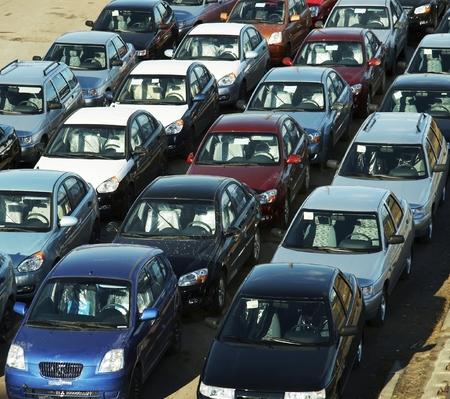 Many cars on the street Stock Photo