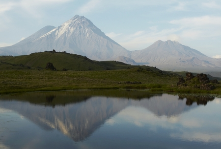 Lake and volcano on Kamchatka photo