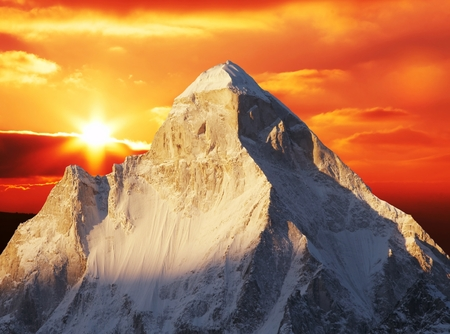 grandeur: Shivling peak on sunset Stock Photo