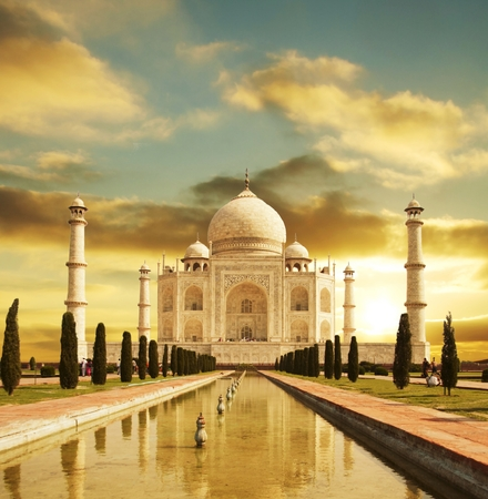 mahal: Taj Mahal palace in India on sunrise Stock Photo