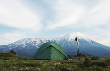 kamchatka: tent in mountain on Kamchatka Stock Photo