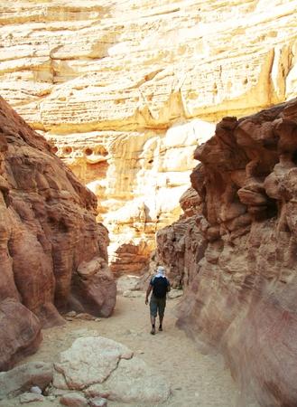 going in: Hombre que entra en barranca colorida en Egipto