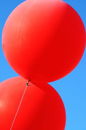 mirth: Balloons depart to the sky Stock Photo