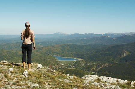 overview: Girl overview landscapes in mountain Stock Photo