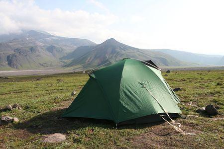 tent in mountain on Kamchatka photo