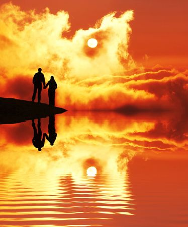 Couple on sunset Stock Photo - 1852607