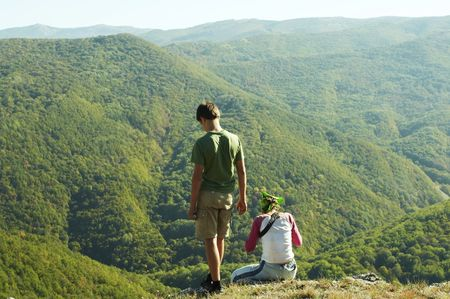 overview: Backpackers  overview landscapes in mountain Stock Photo