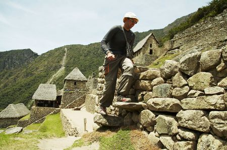 the lost city of the incas: Tourist in the lost incas city Machu-Picchu