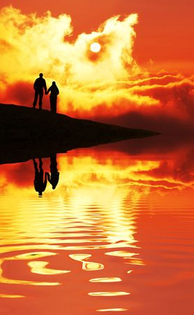 Couple on sunset Stock Photo - 2112047