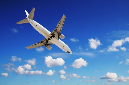 jet approaching airport Stock Photo - 2168320