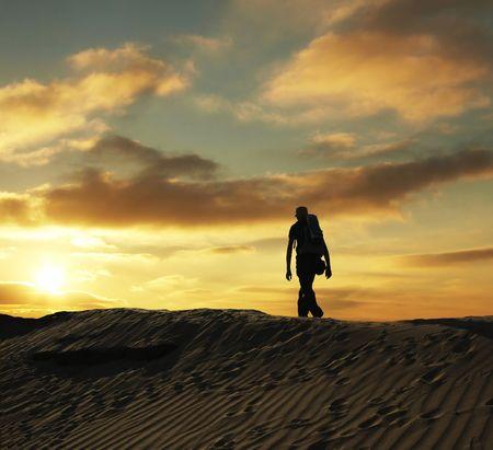 desert sun: Boy in hike at desert Stock Photo