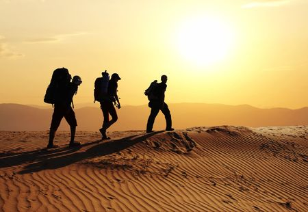 Group going  in sand desert Stock Photo - 2168359