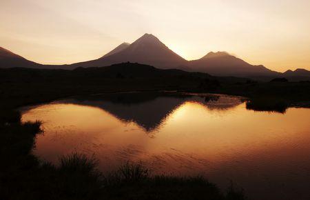 Sunset in Kamchatkian mountain photo