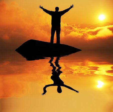 healt: Happy man silhouette on the sunny sky