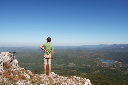 to observer: Boy in mountain