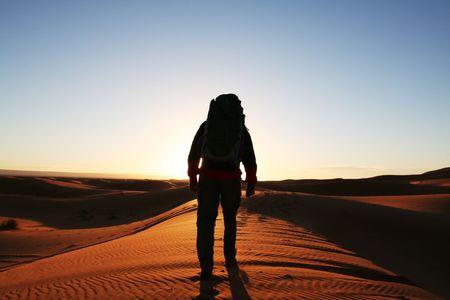 observer: Man observer  sand desert