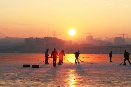 Hockey on sunset