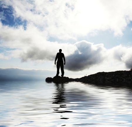 exuberant: Man silhouette Stock Photo