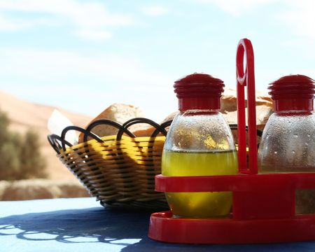 condiments: Condiments in street cafe