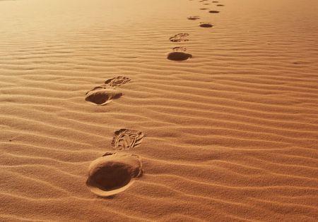 pilgramige: Footprints on the sand Stock Photo