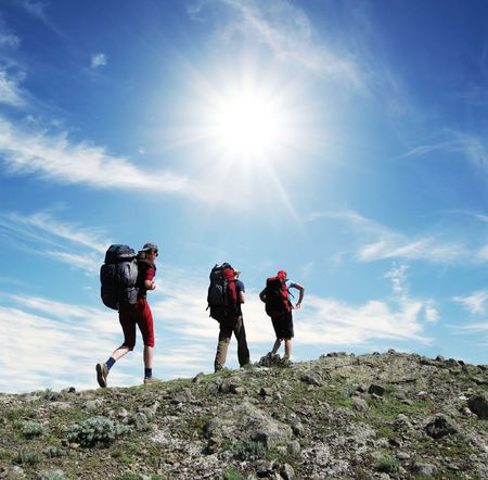 Backpackers in the hike photo