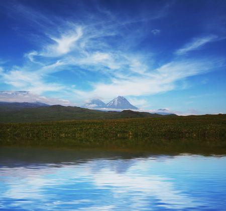 Mountain lake on Kamchatka photo