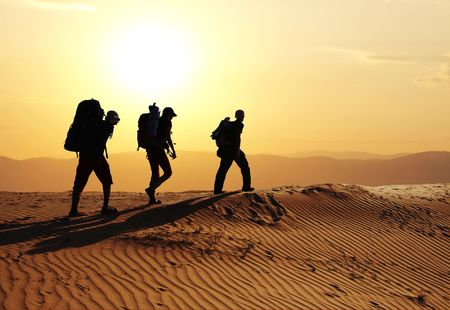 go up: Group go up in sand desert Stock Photo