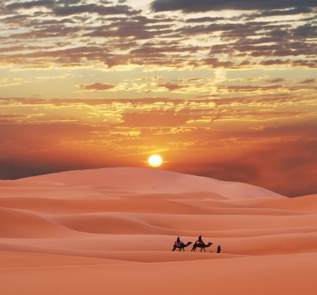 desierto del sahara: Caravana en el desierto de S�hara