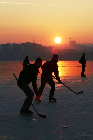 Hockey on sunset photo