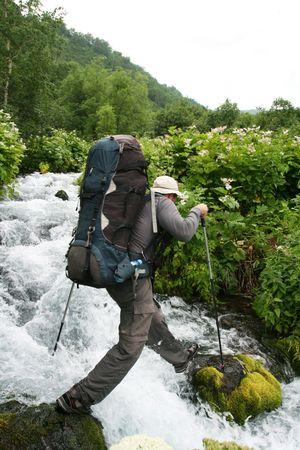 kamchatka: Male in hiking on Kamchatka Stock Photo