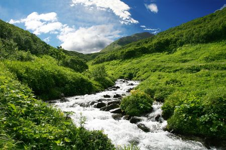 River in Kamchatkian mountain photo