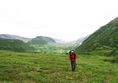 Male in hiking on Kamchatka photo