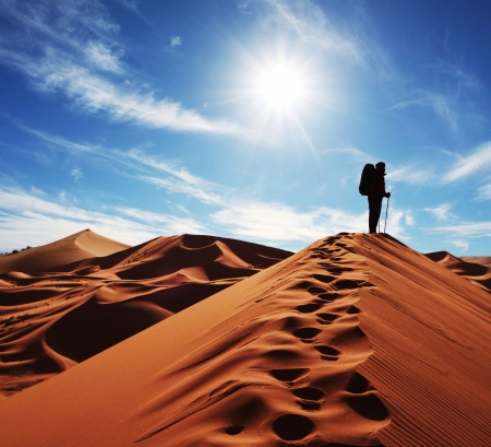 morocco: Hike in sand desert Stock Photo