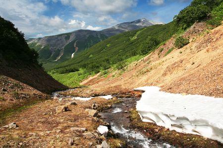 kamchatka: Spring river on Kamchatka Stock Photo