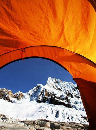 alpamayo: tent in the Cordilleras mountain