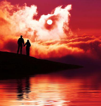 Couple on sunset Stock Photo - 2725297