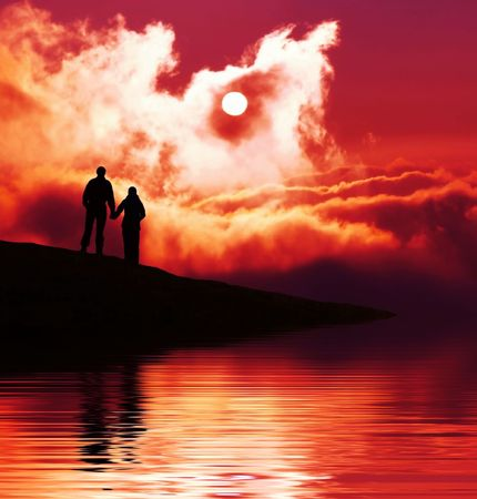 Couple on sunset Stock Photo - 2725297