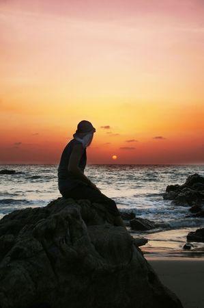 silouette: Sea sunset Stock Photo