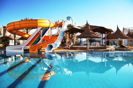 pool party: Colorful aquapark constructions in swimming-pool