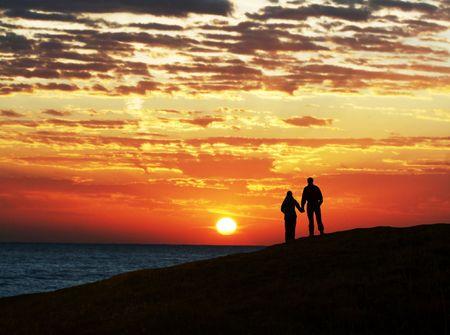 Couple on sunset Stock Photo - 2860999