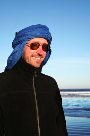 Tourist in Sahara desert photo