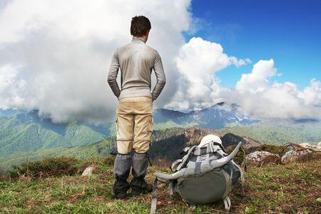 Boy in mountains photo