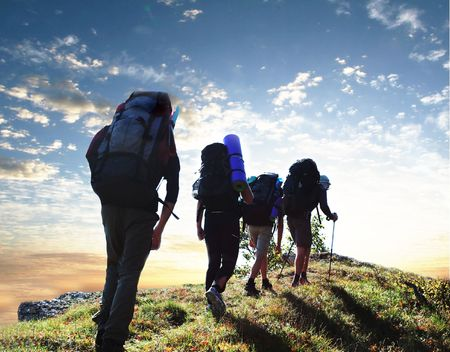 senderismo: Los excursionistas en las monta�as